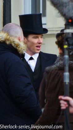 SHERLOCK (BBC) ~ Benedict Cumberbatch (Sherlock) in a top hat and Victorian costume on February 8, 2015 on the set during filming of the pre-Season 4 SHERLOCK: THE SPECIAL.