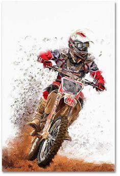 Trademark Global The Macneil Studio 'Motocross' Canvas Art - 32 x 22 x 2 Motocross Tattoo, Cool Dirt Bikes, Motorcross Bike, Bike Drawing, Motorcycle Art, Motorcycle Touring, Motorcycle Quotes, Japon Illustration, Dirtbikes