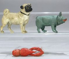 Three Paper Mache Candy Containers Dog Pig Lobste