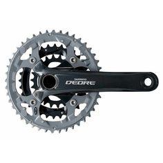 Shimano Deore 2-piece Mountain Bicycle Crank Set - FC-M591 - 48/36/26 (Black - 175MM x 48X36X26T W/CG)