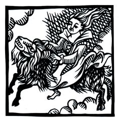 Witch on the Back of a Goat by Fiona Bearclaw (based on a 16th century woodcut)