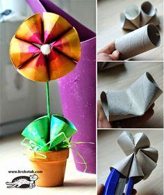 Banco de Atividades: PRIMAVERA - flores com rolinho de papel higienico