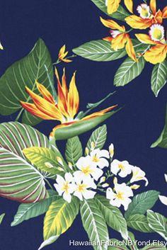 Tropical PLUMERIA Flower Fabric Panel Fuchsia Pink Quilt Square Hawaiian~ NEW