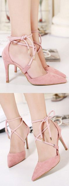 Pink Suedette Pointed Bow Tie Lace Up Heels