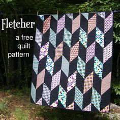 Fletcher - a free pattern for an easy Chevron Quilt from Shiny Happy World