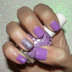 purple manicure using Essie's Playdate