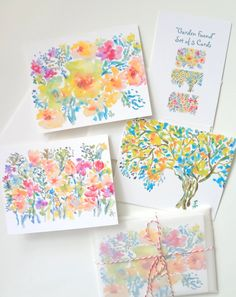 Watercolor Note Cards Set of 3 Cards Garden by pineapplebaystudio, $15.00