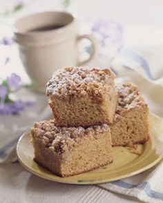 Coffee Cake--switch topping to 3/4 brown sugar, 1/2 cup flour, 1/4 cup softened butter 1.5 tsp cinnamon or pumpkin spice.  layer once then top (if layering tweak the topping recipe)