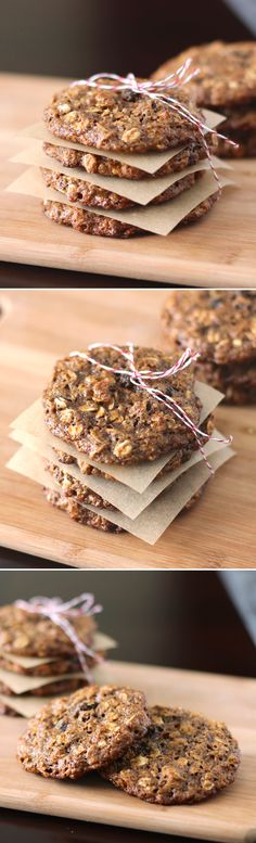 Secretly Healthy Oatmeal Raisin Cookies! They're thin, they're chewy, and they're made without butter, white flour and white sugar. [low sugar, eggless, dairy free, vegan]