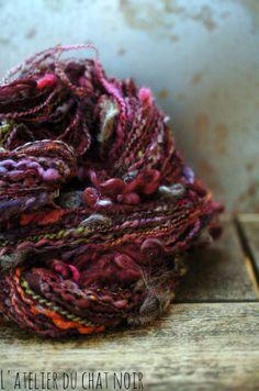 Prunelle handspun art yarn by LAtelierduChatNoir on Etsy