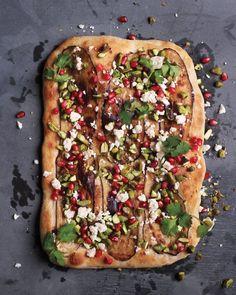 Eggplant, Pistachio, and Pomegranate Pizza Recipe