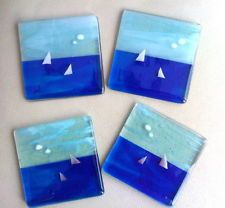 Sailing boats fused glass coaster sea fishing dad gift art yacht table christmas