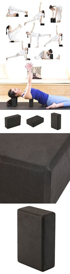 Yoga Block High Density EVA Foam Brick Foam Exercise Practice Provides Stability Balance and Support Improve Strength Home Fitness Gym Sport Tool (Black)