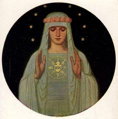 A devotional image of the Immaculate Heart of Mary by the Beuron Art School, a German movement from the late 19th and early 20th centuries which promoted a revival of early Christian and Byzantine art forms with ancient Egyptian influence.