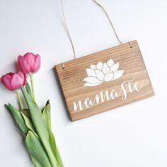Namaste -  Hanging Yoga Sign - Hanging Namaste Sign - Namaste Decor - Yoga Studio Decor - Small Yoga Sign by AllyBethDesignCo on Etsy https://www.etsy.com/listing/275079606/namaste-hanging-yoga-sign-hanging