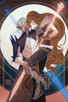 Hawke and Fenris :) First Romance card featuring Fenris! Hawke Dragon Age, Dragon Age 2, Dragon Age Origins, Dragon Age Inquisition, Character Concept, Character Art, Character Design, Skyrim, Series Manga