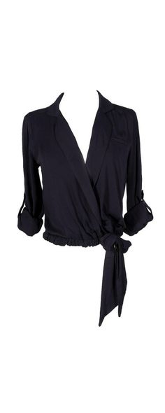 Crossover Tie Side Blouse in Navy  www.lilyboutique.com