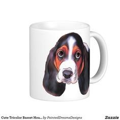 Cute Tricolor Basset Hound Portrait Coffee Mug