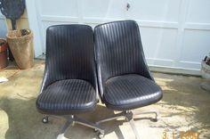 Black vinyl chairs On Casters Swivel Base Retro Very Cool Bucket Seats | eBay