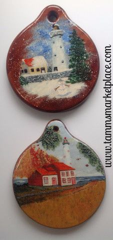 Lighthouse Scenes Hand Painted on Wood Set of 2 Hanging Wall Art DKP00 – Tamm's Marketplace
