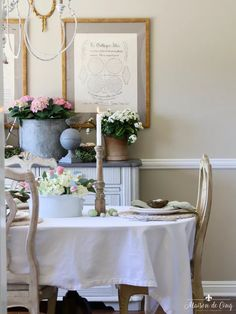 maisondecinq on LIKEtoKNOW.it (LTK) Rustic Garden Party, Garden Table, Garden Parties, Easter Table Settings, Easter Table Decorations, Centerpiece Ideas, Table Setting Inspiration, Dining Room Inspiration, Dining Room Table Centerpieces
