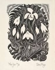 I like this aesthetic very much   lino print snowdrop - Google Search