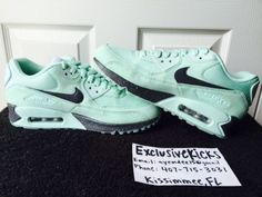 DS New Authentic Nike ID Air Max 90 Bleached Turquoise 8 Custom Womens | eBay