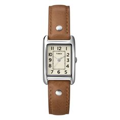 Accessorize your wardrobe with the classic styling of this brown leather strap watch by Timex. This lovely timepiece features a component case constructed of polished brass with a coordinating strap in honey brown that will complement almost any outfit.