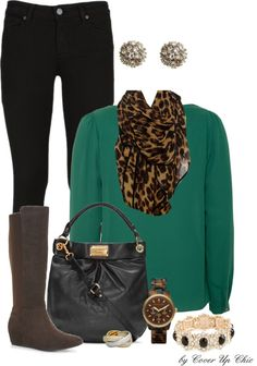 Casual Wear: Emerald, Black and Leopard Casual Chic, Casual Wear, Casual Outfits, Cute Outfits, Fashion Outfits, Casual Clothes, Passion For Fashion, Love Fashion, Womens Fashion