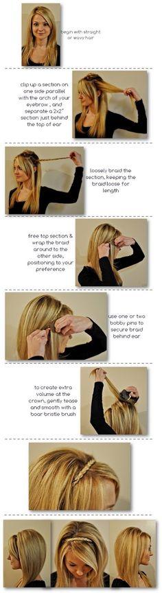 Braid headband with your hair, cute!