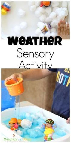 Weather Sensory Activity for preschoolers Weather Activities for Kids Letter W Activities, Weather Activities Preschool, Sensory Activities For Preschoolers, Preschool Lessons, Spring Activities, Preschool Activities, Outdoor Activities, Tactile Activities, April Preschool