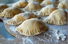Recipe; Polish Pierogies - Potato and Cheese; flour, salt, eggs, russet potatoes, cheddar cheese, dried chives, onion, butter, flour  ~~