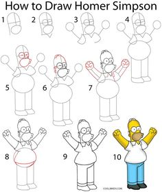 How to Draw Homer Simpson Step by Step Drawing Tutorial with Pictures | Cool2bKids