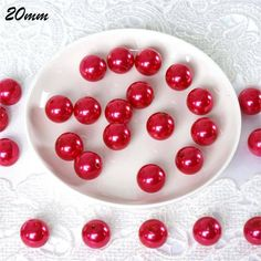 120/pk I LIKE EM BIG 20mm Pearls - Red | eFavorMart.com / Size captures gazes. Beauty put them in a daze. And we're putting both these winning traits together in these Large Pearls for all your decorating and accessorizing needs!  Use these realistic-looking pearls to make your event / production / decor truly have that WINNING LOOK. Be free as you create those hanging pearl garlands, centerpieces and favor accessories because there's so many pearls in each pack of these I LIKE EM BIG. So… Pearl Garland, Beaded Garland, Garlands, Decorating Supplies, Craft Supplies, Vase Fillers, Red Wedding, Flower Crafts, Pearl Beads
