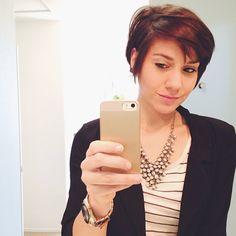 auburn pixie cut. short hair don't care :P