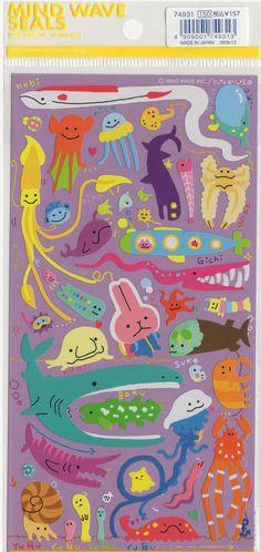 Kawaii Japan sticker Sheet Assort: Novelty Yuru Giant Sea Creatures on Etsy, $3.15