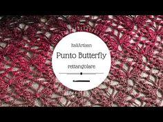 SCIALLE TRIANGOLARE BUTTERFLY all'uncinetto, Scialle Farfalle, Punto farfalle triangolare - YouTube