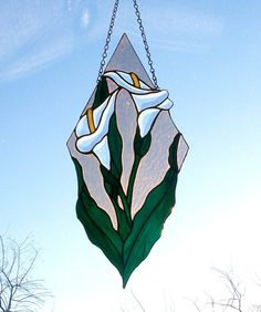 Stained Glass Calla Lily Panel with Beveled by SwankyStainedGlass, $110.95