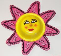 alternative to regular mexican suns out of clay. (paper bowl glued to cardboard, mod podge over with colored paper.) brilliant!