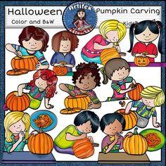Pumpkin Carving Kids clip art set features 22 items: 11 clip arts in color. 11…