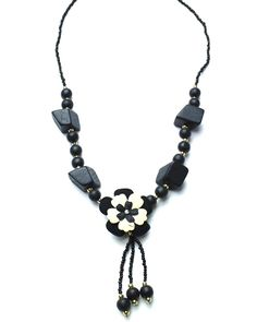 Beautiful Jewelry Shop: Western Jewelry Necklaces, Ladies Designer Necklace, Black Wood & Beads Necklace- Missagi London