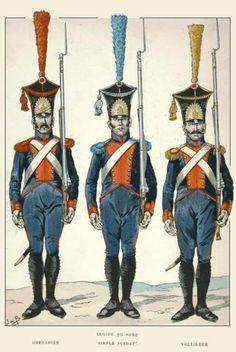 Legion du Nord 1807 Grenadier,fizylier i woltyżer. Best Uniforms, Empire, Frank Morrison, Army Uniform, French Revolution, Napoleonic Wars, Military History, France, Warfare