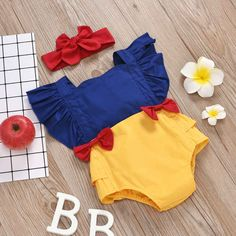 Baby Girl Romper, Baby Bodysuit, Baby Dress, Dresses Kids Girl, Cute Baby Girl Outfits, Cute Outfits, Baby Snow White, Baby In Snow, Baby Girl Halloween Costumes