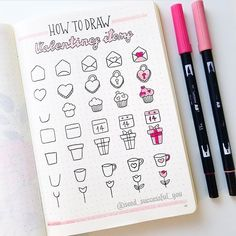 Seed Successful You on TUTORIAL: Hello friends! Today, I am sharing a simple tutorial on how to draw some Valentines items. When I do how to draw tutorials I February Bullet Journal, Bullet Journal Banner, Bullet Journal Notebook, Bullet Journal Ideas Pages, Bullet Journal Inspiration, Lettering Tutorial, Hand Lettering, Bullet Journal Aesthetic, Doodle Art Journals