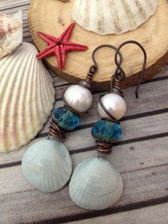 Blue shell Drop earrings Shell beaded earrings by FloatingVintage, £14.00