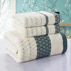Bath Towel +face towel Set beach towel two piece face towels gift toalhas de banho home textile Blue Towels, Soft Towels, Cotton Towels, Bathroom Towels, Bathroom Sets, Bamboo Bathroom, Textiles, Fancy Houses, Face Towel