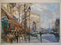 Arc de Triomphe par l'avenue Foch - PARIS Acrylique sur papier, signée, peinte en 2014 50 x 34cm