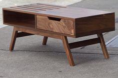 Mid century inspired slatted coffee table. $750.00, via Etsy.