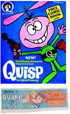 Breakfast cereal image for Quisp cereal called Quisp Cereal Box And Comic. Vintage Advertisements, Vintage Ads, Vintage Food, Vintage Stuff, Retro Food, 70s Food, Retro Advertising, Vintage Classics, Vintage Ephemera