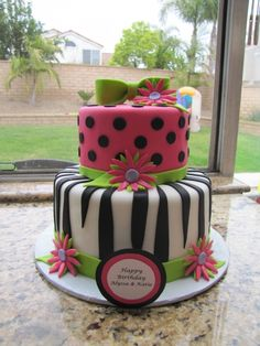 Great pre-teen girl cake.  Hot Pink, Zebra Birthday cake By cakeblondie on CakeCentral.com